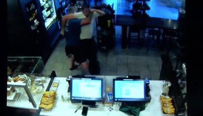 Caught on Camera: Man uses chair to stop armed robbery at Starbucks