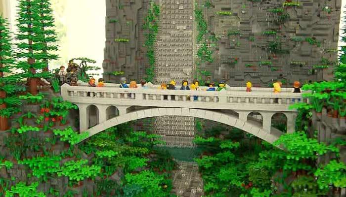 Erik Mattson's Lego version of Multnomah Falls stands eight feet tall. (Source: KOIN/CNN)