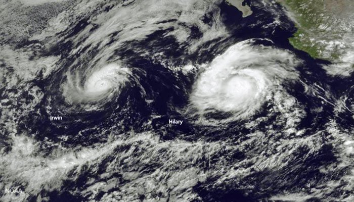 Tropical Storm Irwin and Hurricane Hilary are on a collision course in the eastern Pacific. (Source: NOAA/CNN)