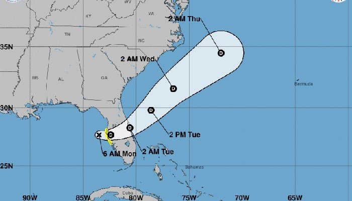 Tropical Depression Six is expected to cross the Florida peninsula and enter the Atlantic. (Source: NHC)