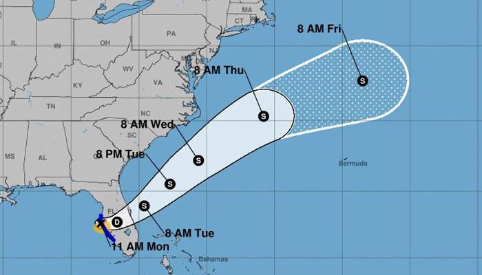 Tropical Storm Emily has come ashore near Bradenton, FL. (Source: NHC)