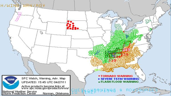 Map of weather warnings. (Source: NWS)