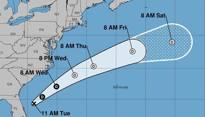 Emily's expected course takes it out over the open Atlantic. (Source: NHC)