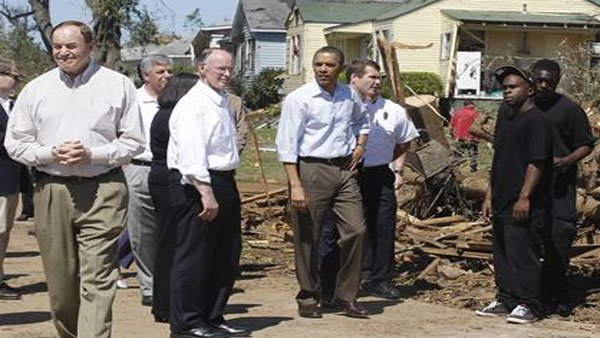 President Obama, Governor Bentley and Mayor Maddox tour the damaged city of  Tuscaloosa, AL. (Source: CNN)