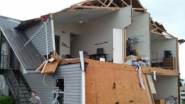 The tornado ripped out the wall of Taylor Nichol's second-story Tuscaloosa apartment. (Source: Taylor Nichols)