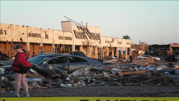 This building is all that is left of a shopping area that was wiped out by a tornado in Tuscaloosa, AL. (Source: WBRC)