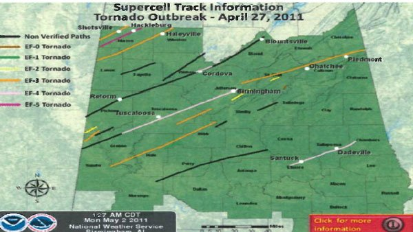 Map of the destructive storms that swept through Alabama. (Source: AEMA)