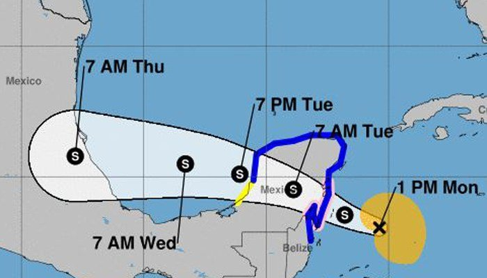 Tropical Storm Franklin is expected to make landfall on the Yucatan Peninsula. (Source: National Hurricane Center)