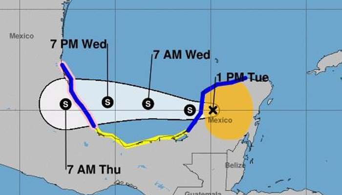 The storm brings concerns of flash flooding caused by heavy rains as it crosses the Yucatan Peninsula. (Source: National Hurricane Center)