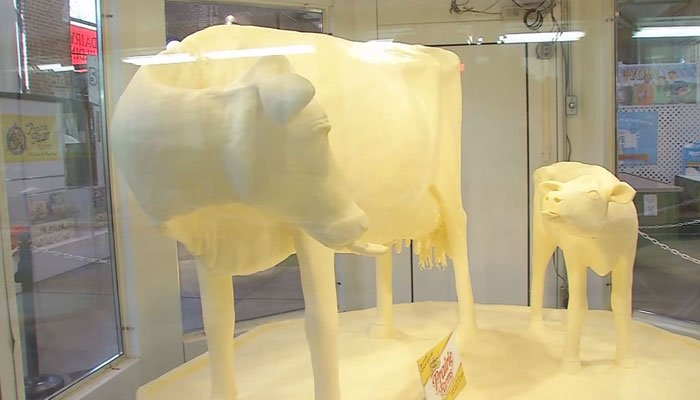 Artists use 500 pounds of butter to fashion fair's Butter Cow
