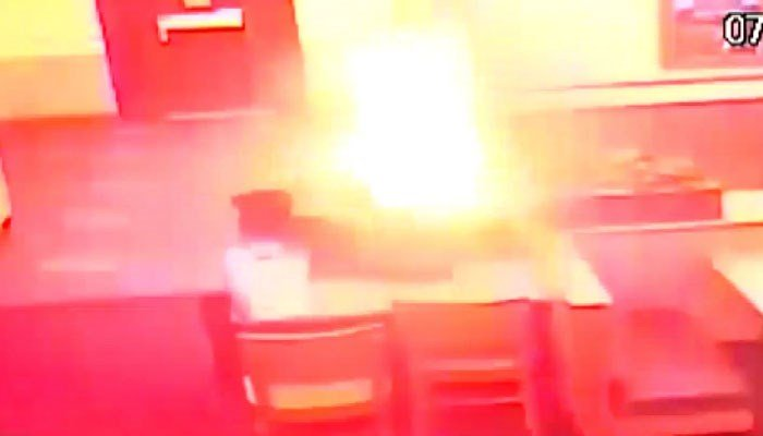 Surveillance video released of Wendy's firework incident