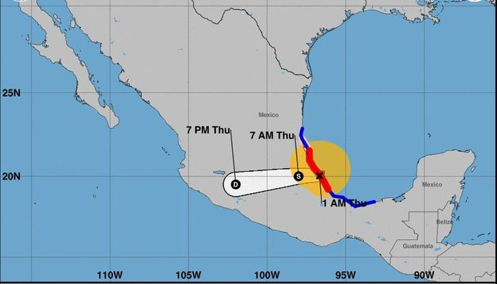 Hurricane Franklin made landfall early Thursday morning in the Mexican state of Veracruz. (Source: NHC)