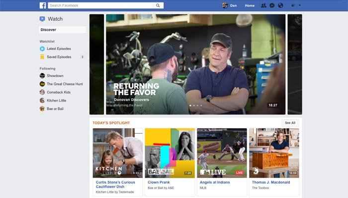 Facebook announced they'll be publishing original TV shows through theirservice titled 'Watch,'a platform you can run through site. (Source: Facebook)
