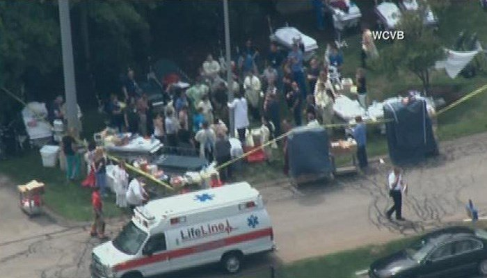 The hospital was evacuated. (Source: WCVB via CNN)