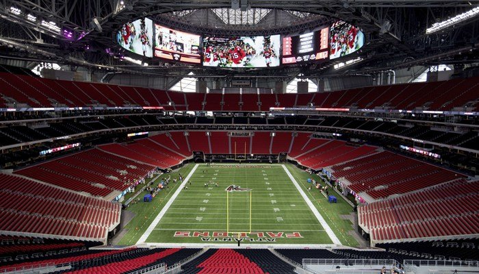 Atlanta's new Mercedes-Benz stadium is a showplace, but Falcons fans will not be able to visit Chick-fil-A for all but one home game in 2017. (Source: AP/David Goldman)