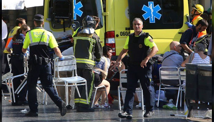 According to El Pais in Spain, authorities are treating the incident as a terrorist attack. (Source: AP Photo/Oriol Duran)