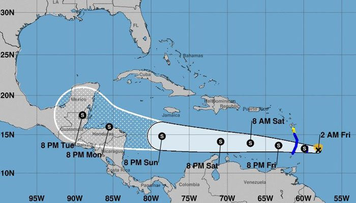 The Yucatan Peninsula is the projected path of the storm. (Source: National Hurricane Center)