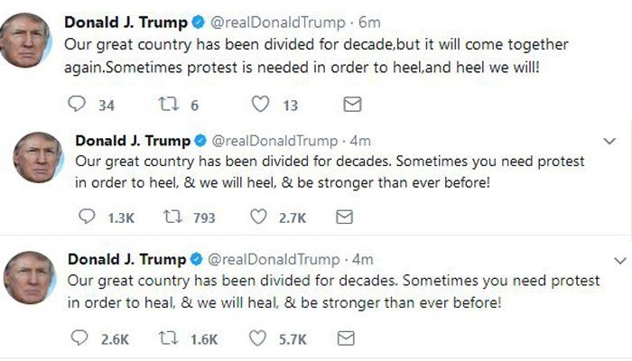 Donald Trump does it again, confuses 'heal' with heel on Twitter