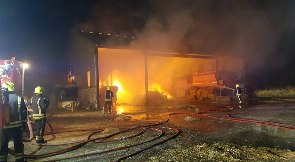 The Pewsly Fire Department put out the fire and rescued the pigs inside a blazing barn. (Source: Facebook/Pewsly Fire Department.)