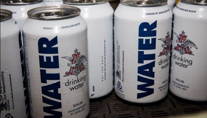 These specially marked cans of water are going to flood-stricken areas on the Gulf Coast, courtesy of Anheuser-Busch. (Source: Anheuser-Busch)