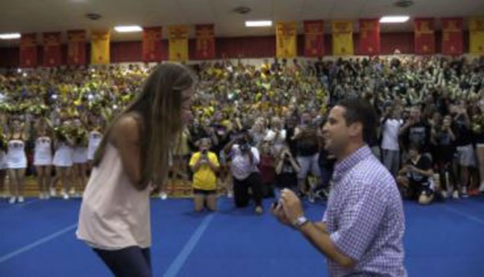 Sydney Wright said yes when history teacher Robbie Galvin popped the question last week. (Source: Cobb County School District)