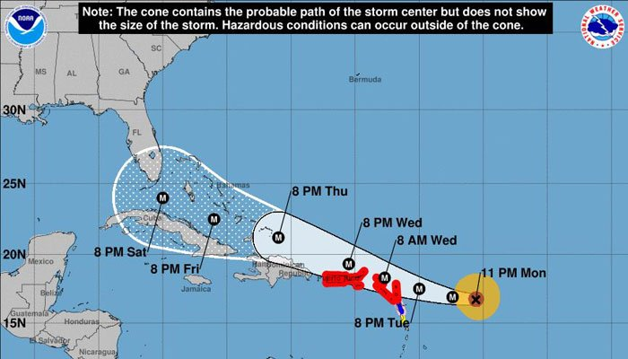 Hurricane Irma is a dangerous Category 4 hurricane heading west-northwest toward the Caribbean. (Source: NOAA)