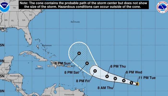 Jose is expected to move toward the northwest later in the week. (Source: National Hurricane Center)