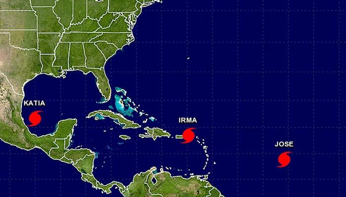 Three hurricanes are now in the Atlantic, and Gulf of Mexico.  (Source: NHC/NOAA)