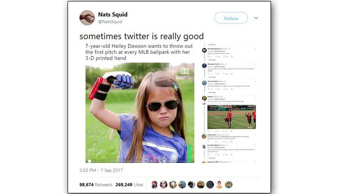 Twitter has blown up with praise for the dauntless little girl and with invitations from Major League teams to come to their stadiums and throw the first pitch. (Source: Squid1)