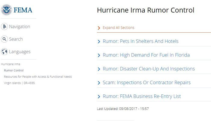 The page acts as a fact checker to various Irma rumors that have gained popularity on the internet. (Source: FEMA.gov)