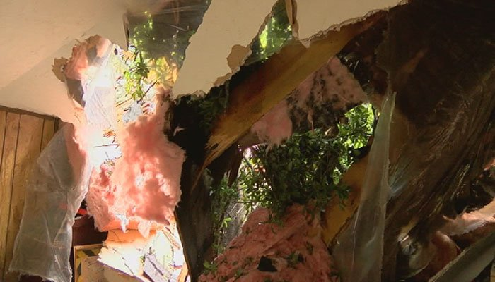 Now, the family is dealing with a gaping hole in their roof and debris and damage inside the house after an emotional roller coaster Sunday night. (Source: WTXL)