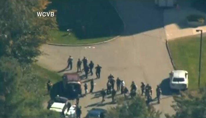 Police surrounded the hospital after reports of an active shooter, although it's not clear if any shots were fired. (Source: WCVB/CNN)