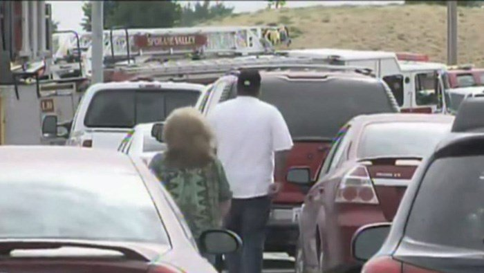Traffic is backed up around Freeman High School in Washington, where a shooting Wednesday left at least one person dead. (Source: KXLY/CNN)