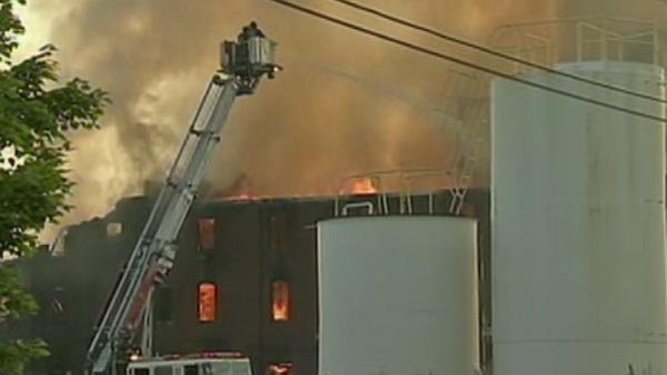 Hazmat teams were called to the fire to make sure no chemicals were burning inside. (Source: WPVI/CNN)