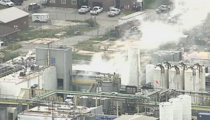 A chlorosulfuric acid leak at a chemical plant caused some residents near the plant to shelter in place on Monday.  (Source: WJLA/CNN)