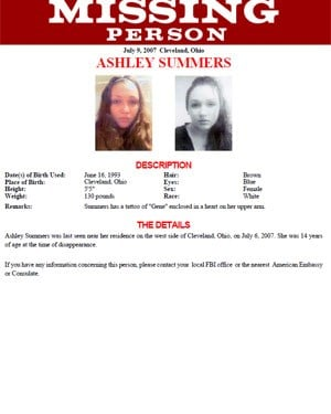 A Missing Persons poster from the FBI details Ashley Summers' case. (Source: FBI)