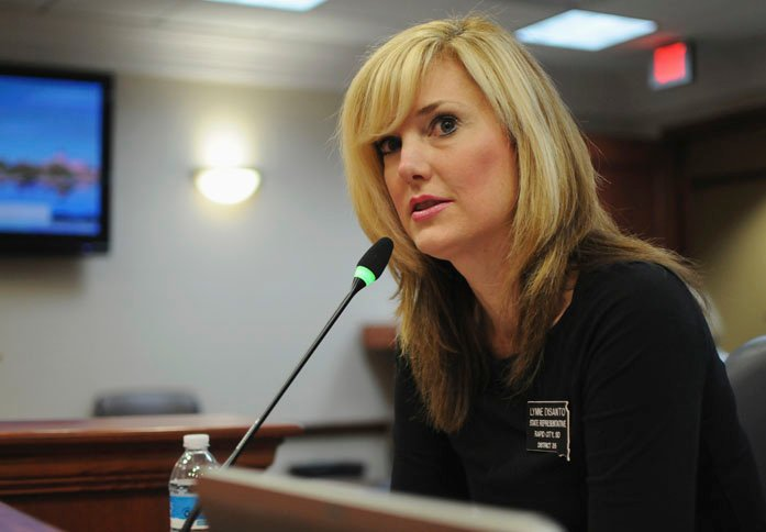 South Dakota State Rep. Lynn DiSanto posted a meme of a car running over protesters and was fired from her real estate job. (Source: AP Photo/James Nord)