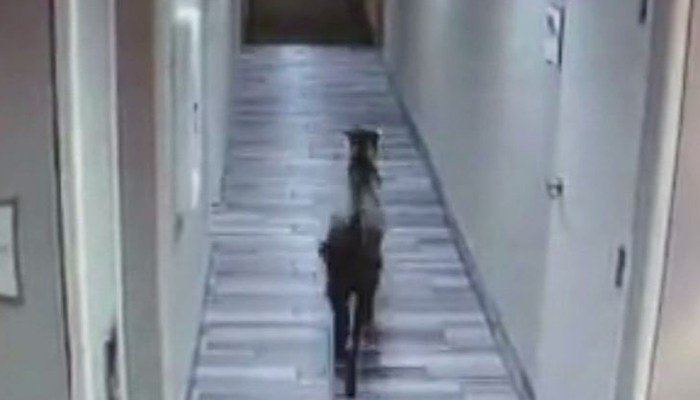 Goat caught on camera wandering around MA hotel