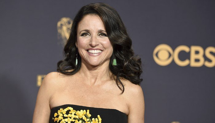 Julia Louis-Dreyfus arrives at the 69th Primetime Emmy Awards on Sunday, Sept. 17, 2017, at the Microsoft Theater in Los Angeles. (Photo by Richard Shotwell/Invision/AP)