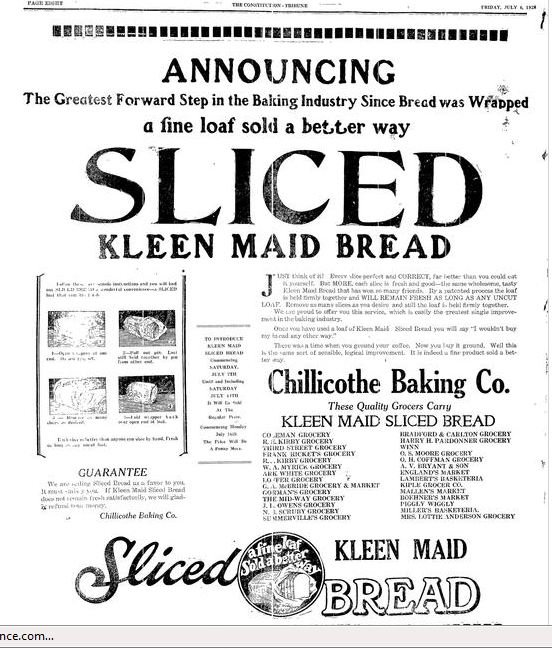 "Frank Bench practiced aggressive marketing. He took out a full-page ad in the local paper announcing ""The greatest forward step in the baking industry since bread was wrapped."" (Source: Constitution-Tribune)"