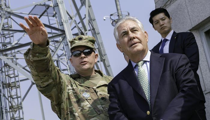 Secretary of State Rex Tillerson is photographed inside the Joint Security Area of the Korean Military Zone in March 2017. (Source: U.S. Army/Sean K. Harp/flickr)