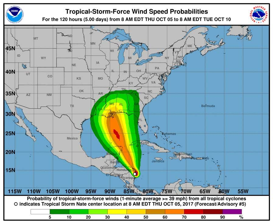 The graphic shows topical storm-force wind probabilities, according to the National Hurricane Center. (Source: NHC)