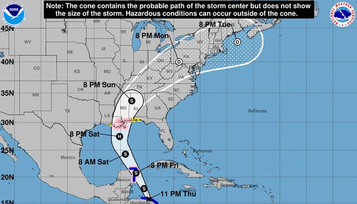 Nate is expected to start impacting the Gulf Coast late Saturday and Sunday.  (Source: NHC)
