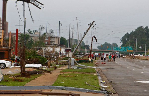 In the hours after the storm that plowed through Tuscaloosa, AL, residents flooded the streets to view the damage. (Source: Jason Clark)