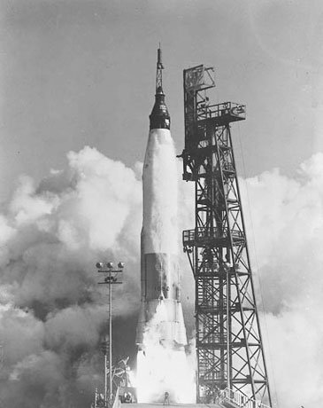 With astronaut John H. Glenn Jr. aboard, the Friendship 7/Mercury Atlas 6 spacecraft lifts off from Cape Canaveral, FL, on Feb. 20, 1962. (Source: NASA)