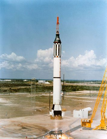 On May 5, 1961, the U.S.' first manned spaceflight, Mercury-Redstone 3 is launched from Cape Canaveral, FL, on a sub-orbital mission. Astronaut Alan B. Shepard Jr. was the pilot of the Mercury spacecraft, designated Freedom. (Source: NASA)