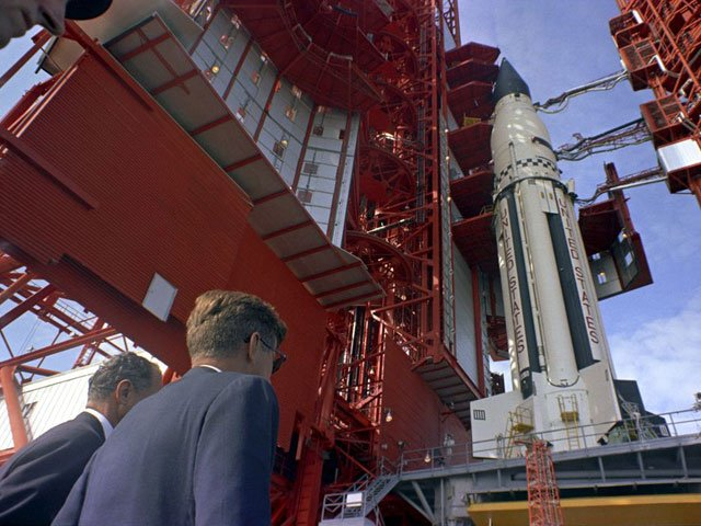 U.S. Senator George Smathers, D-FL, and President John F. Kennedy look over the Saturn I at Pad B, Complex 37, Cape Canaveral. (Source: The John F. Kennedy Presidential Library))