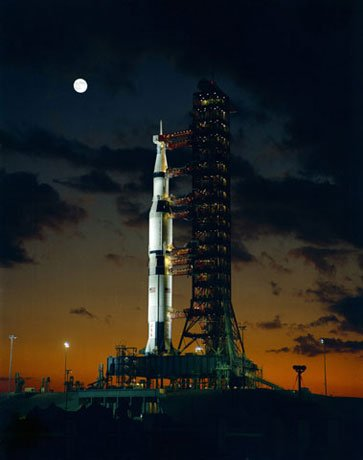 The Saturn V awaits its first unmanned test launch at Kennedy Space Center's launch complex 39A. (Source NASA)
