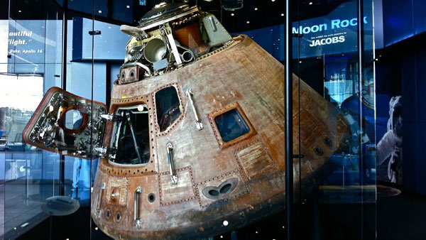 The capsule of Apollo 16 is displayed at the Marshall Space Flight Center in Huntsville, AL. The capsule's copper coloring occurred during the extreme temperatures of re-entry. (Source: J. Sebe Dale IV)