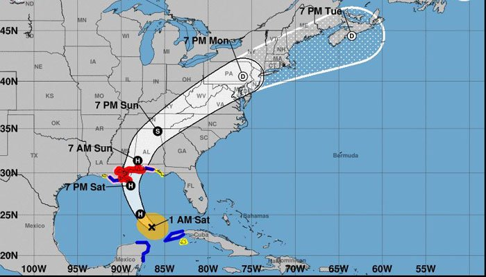 Forecasters said Hurricane Nate will make landfall on the Gulf Coast as a Category 1 storm. (Source: NHC)